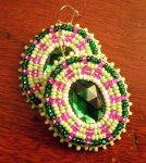 Native American Beaded Oval Earrings