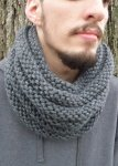 Bosso Ribbed Infinity Cowl in CHICAGO CHARCOAL GRAY