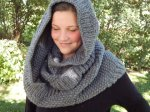 CHARCOAL Ribbed Seed Moebius Infinity Cowl Hand Knit Scarf Snood