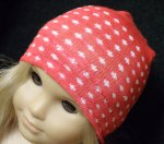 RED with WHITE DOTS Skull Cap for Dolls